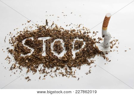 Stop Smoking By Breaking The Cigarette Or Crushing Cigarette Quitting Smoking Concept