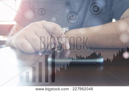 Businessman Hand Working On Mobile Phone  With Digital Layer Business Strategy And Social Media Diag