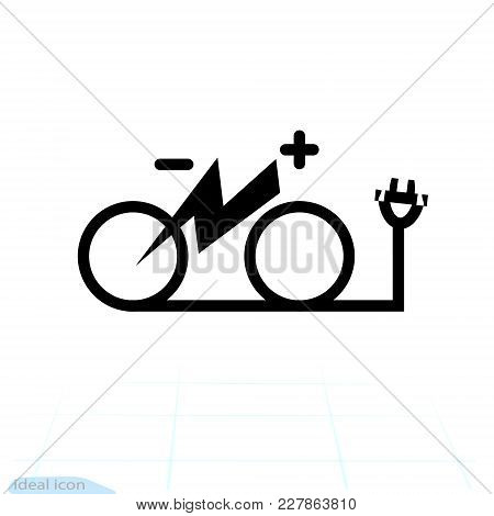 Isolated Electric City Bike Symbol Icon. Trekking E-bike Line Silhouette With Electricity Flash Ligh