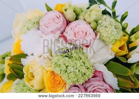 Wedding Rings Flowers Bride's Bouquet
