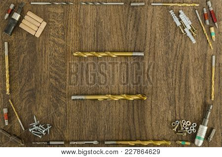 Background Or Background Of Fasteners, Baits, Drills. Two Are Arranged In The Form Of Horizontal Lin