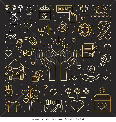 Donations And Charity Gold Square Illustration. Clean And Simple Outline Design.