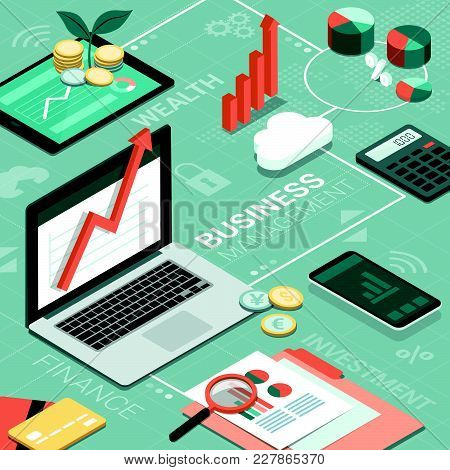 Laptop, Tablet And Smartphone On A Corporate Desktop And Finance Concepts: Business Management And I