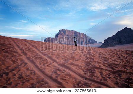 Jordan National Park Wadi Rum Desert. Beautiful View And Panoramatic Picture. Natural Background. Su