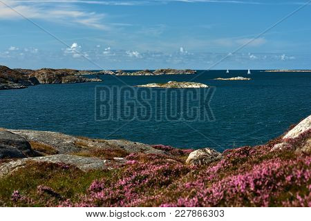 Sea Landscape With Yachts And Rocky Coastline On The South Of Sweden. Southern Coastline Of Sweden W