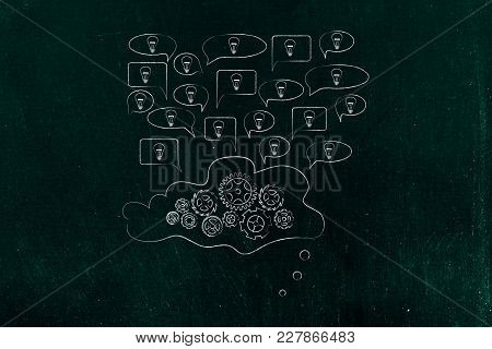 Sharing Ideas Conceptual Illustration: Speech Bubbles With Light Bulbs Popping Out Of A Cloud With G