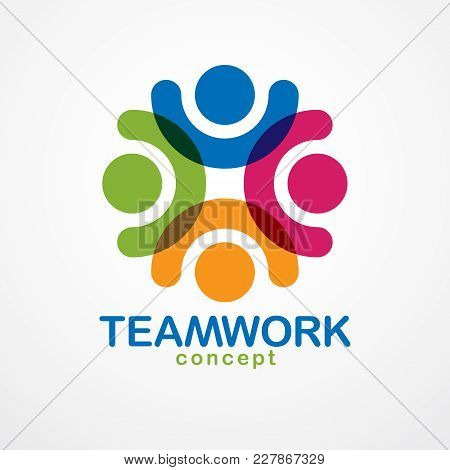 Teamwork And Friendship Concept Created With Simple Geometric Elements As A People Crew. Vector Icon