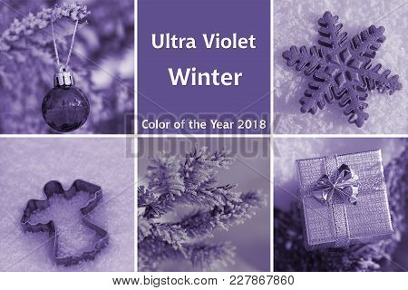 Collage Of Photos On Winter Theme In Ultra Violet