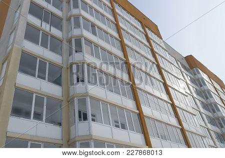 Modern Multistory Apartment Building. Residential Building. Building Fragment. Apartment Block. Cont
