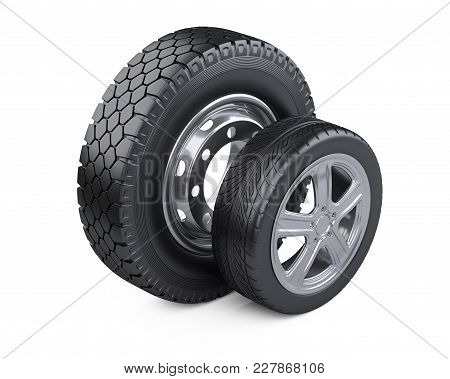 Set Of Two Tires. New Car Wheels With Disk For Cars And Trucks. 3d Illustration Over White Backgroun