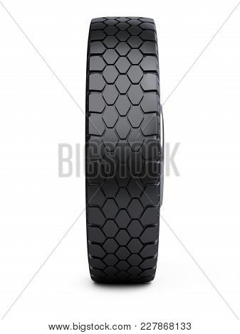 New Vehicle Truck Tire. Big Car Wheel.  3d Illustration Over White Background.