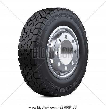 New Vehicle Truck Tire. Big Car Wheel With Disk. 3d Illustration Over White Background.