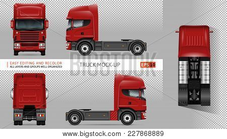 Truck Vector Mock-up. Isolated Template Of Lorry On Transparent Background. Vehicle Branding Mockup.