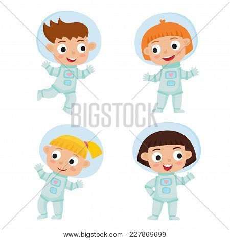 Set With Standing And Flying Astronaut Kids Isolated On White Background. Cartoon Pretty Girls Weari