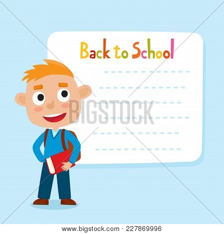 Cute Little Red-haired Boy With A Blank Poster For Your Text Entry. Ready For Your Message. Back To