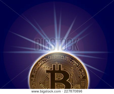 Single Macro Bitcoin Or Bit Coin Isolated Against White Background To Illustrate Blockchain And Cybe