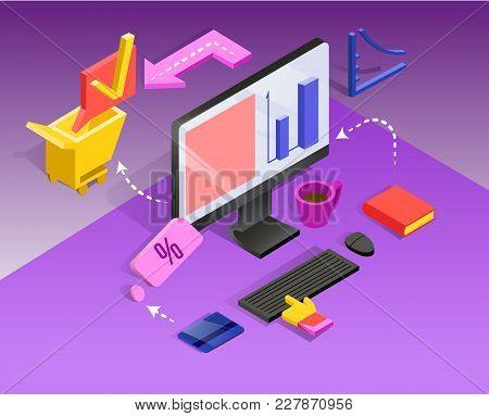 3d Isometric Internet Banking. Money Transfer, Financial Transaction. Vector Illustration