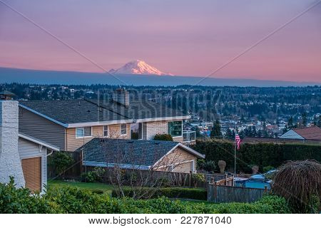 A View Of Mount Rainier From A Neighborhood In Des Moines, Washington.