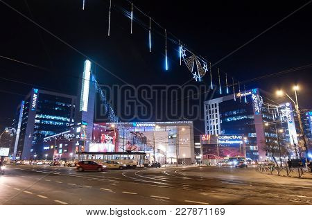 Bucharest, Romania - December 22, 2017: Exterior Of Afi Cotroceni Shopping Mall In Bucharest, One Of