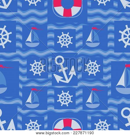 Marine Elements Design On Blue Waves. Seamless Pattern. Design For Textiles, Packaging, Marine Equip