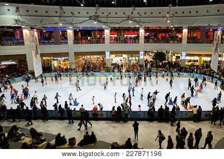 Bucharest, Romania - December 22, 2017: Skating Ring Filled With People, Inside Afi Palace Cotroceni