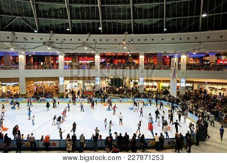 Bucharest, Romania - December 22, 2017: Crowded Skating Ring Inside Afi Palace Cotroceni Mall. Bucha