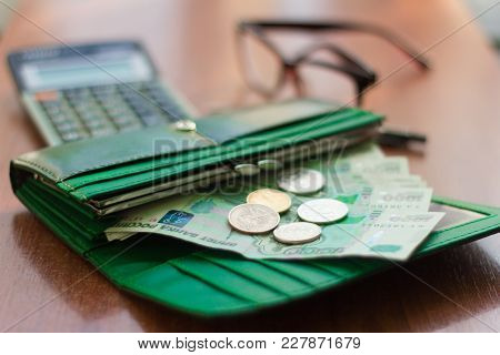Money, Russian Banknotes And Coins In The Purse