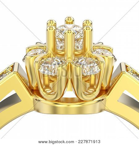 3d Illustration Isolated Close Up Yellow Gold Decorative Flower Diamond Ring On A White Background