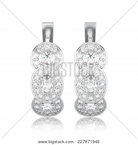 3d Illustration Isolated White Gold Or Silver Three Stone Solitaire Diamond Earrings With Hinged Loc