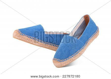 A Pair Of Summer Espadrilles Of Blue Color On A White Background