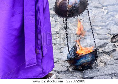 Antigua, Guatemala -  April 13, 2017: Burning Incense In Holy Thursday Procession In Colonial Town W