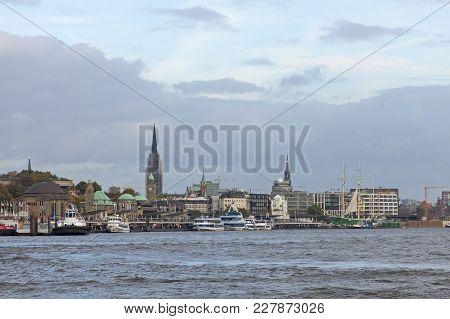 View Of The St. Pauli Piers, One Of Hamburg's Major Tourist Attractions. Hamburg, Germany.