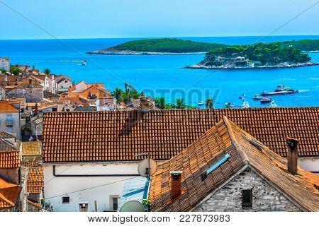 Aerial View At Mediterranean Town In Croatia, Island Hvar Luxury Travel Destination.