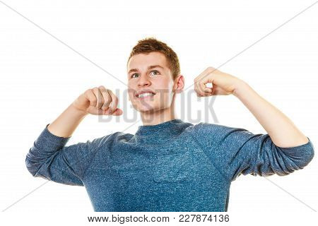 Success Positive Emotions. Happy Young Man Successful Lad With Arms Up Looking Upwards Isolated On W