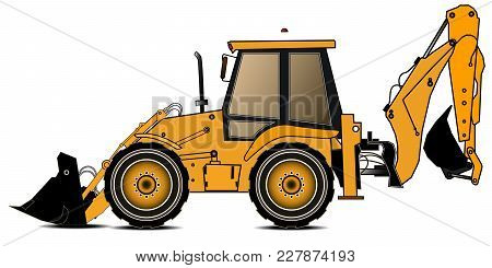 Yellow Backhoe Loader On A White Background. Construction Machinery. Special Equipment. Vector Illus