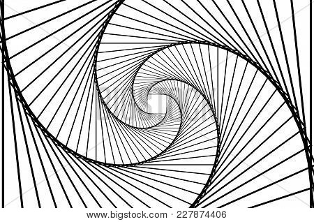 Rotating Concentric Squares, Square Optical Illusion Pattern - Black And White, Geometric Abstract B