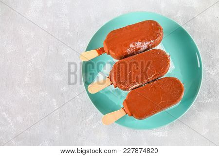 Ice Cream In A Blue Dish On A Gray Table. Eskimo