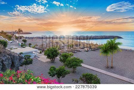 Beautiful Landscape Of Torviscas Beach In Summer Holiday In Canary Island Of Tenerife