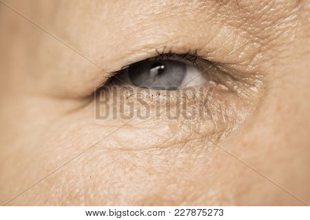 Details Of Senior Woman Face. Elderly Pensioner Female Eye Detailed Close Up.