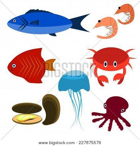 Big Vector Set Of Sea Creatures. Vector Illustration. Underwater Animals. Sea Animals