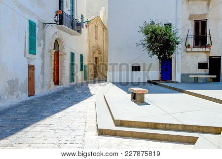Monopoli, Italy, The Traditional Architectures In A Small Square Of The Old Town