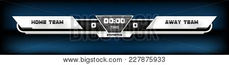 Soccer Football With Scoreboard Graphic And Spotlight Vector Illustration.