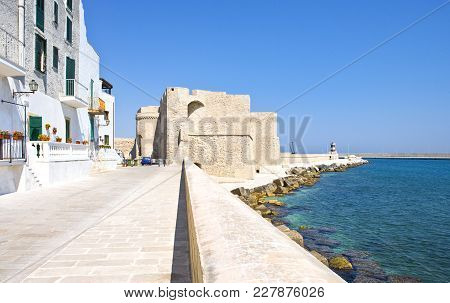 Monopoli, Italy - July 21, 2006: View Of The Houses Of The Seafront Vith The Sixteenth Century Castl