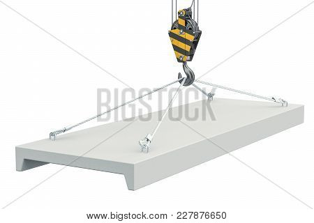 Crane Hook With Concrete Slab Closeup. 3d Rendering Isolated On White Background
