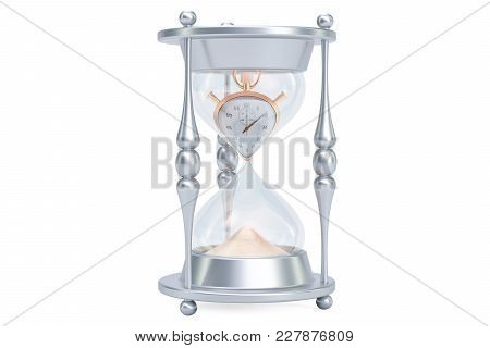 Hourglass, Lost Time Concept. 3d Rendering Isolated On White Background