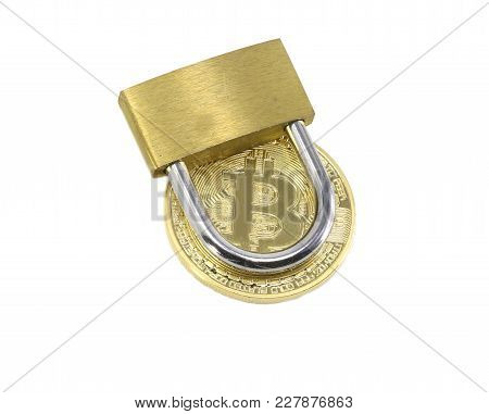 Closed Padlock And A Golden Bitcoin On White Background