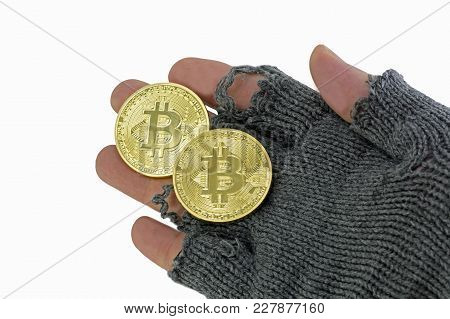 Hand Of Poor Man With Two Golden Bitcoin