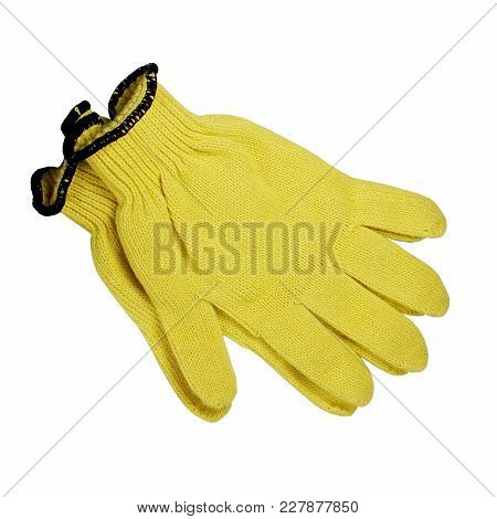 Hand Protection. Work Gloves. Yellow. White Isolated Background.