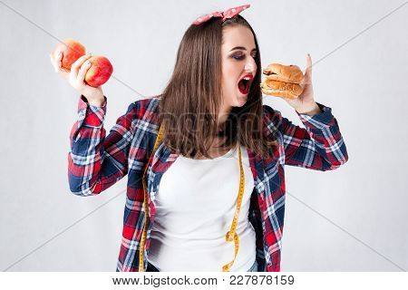 Unhealthy Food Fat Woman Concept, Hungry Girl Xxl Eat Bad Food, Model Plus Size Hold Burgers Centime