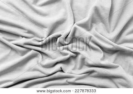 Gray Fabric As Background . Photo Of An Abstract Texture